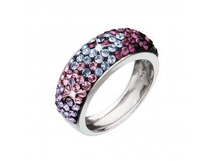 Stříbrný prsten s krystaly Swarovski mix barev fialová 35027.3