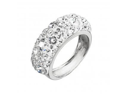 Stříbrný prsten s krystaly Swarovski bílý 35031.1