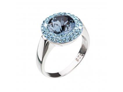 Stříbrný prsten s krystaly modrý kulatý 35025.3