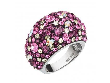 Stříbrný prsten s krystaly Swarovski fialový 35028.3 amethyst