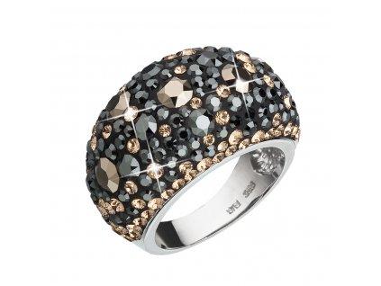 Stříbrný prsten s krystaly Swarovski mix barev černá hnědá zlatá 35028.4