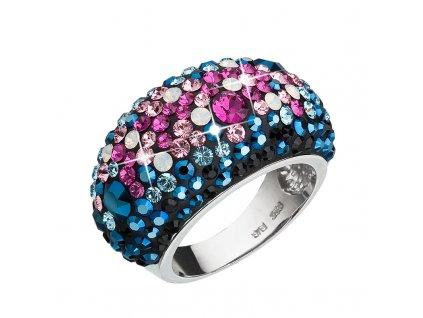 Stříbrný prsten s krystaly Swarovski mix barev modrá růžová 35028.4