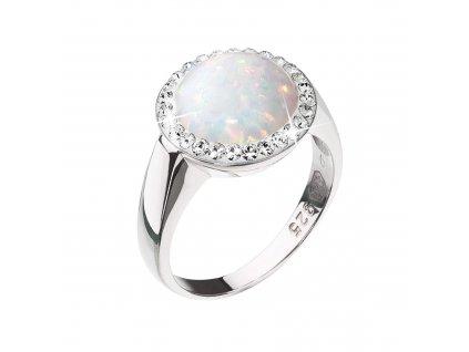 Stříbrný prsten se syntetickým opálem a krystaly Preciosa bílý 35060.1