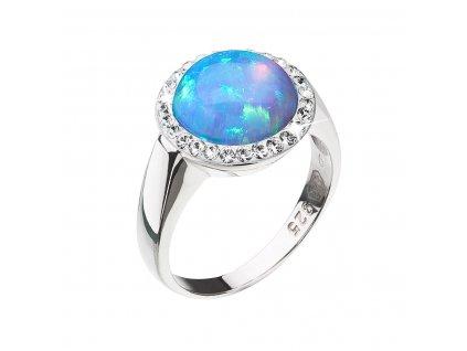 Stříbrný prsten se syntetickým opálem a krystaly Preciosa světle modrý 35060.1