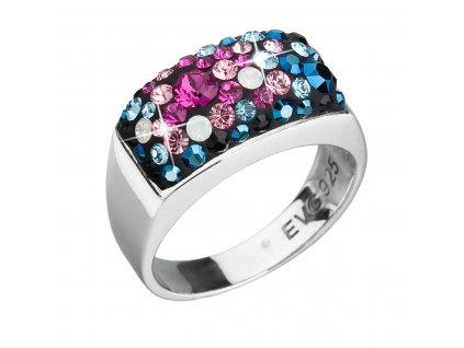 Stříbrný prsten s krystaly Swarovski mix barev modrá růžová 35014.4