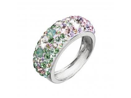 Stříbrný prsten s krystaly Swarovski mix barev fialová zelená růžová 35031.3