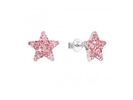 Stříbrné náušnice pecky s Preciosa krystaly růžové hvězdičky 31312.3 lt.rose