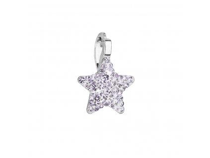 Stříbrný přívěsek s Preciosa krystaly fialová hvězdička 34260.3 violet