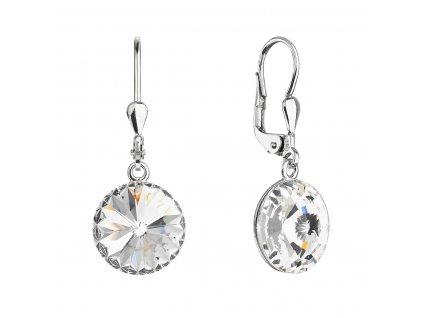 Stříbrné náušnice visací s krystaly Swarovski bílé kulaté 71144.1 crystal