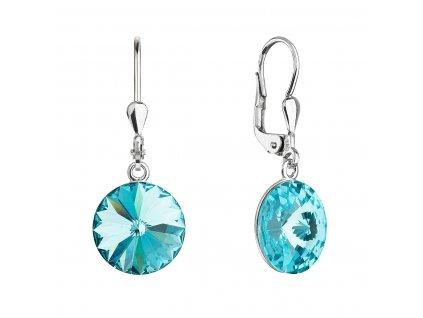 Stříbrné náušnice visací s krystaly Swarovski tyrkys kulaté 71144.3 lt.turquoise