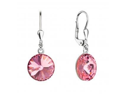 Stříbrné náušnice visací s krystaly Swarovski růžové kulaté 71144.3 rose