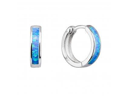 Stříbrné náušnice kruhy se syntetickým opálem modré 11402.3 blue