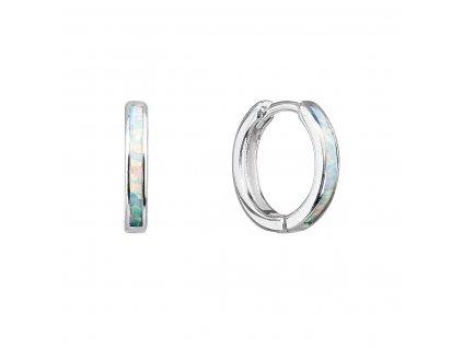 Stříbrné náušnice kroužky se syntetickým opálem bílé 11403.1 white