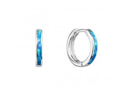 Stříbrné náušnice kroužky se syntetickým opálem modré 11403.3 blue