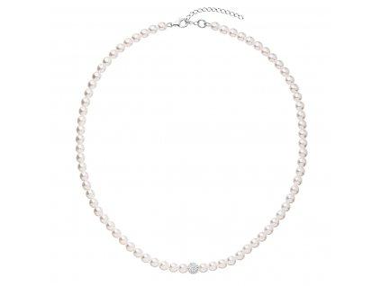Perlový náhrdelník bílý s krystaly Swarovsky 32063.1
