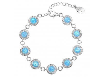 Stříbrný náramek se syntetickým opálem a krystaly Preciosa světle modrý 33105.1