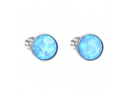 Stříbrné náušnice pecky se syntetickým opálem světle modré kulaté 11001.3 lt.blue