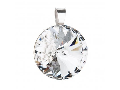 Stříbrný přívěsek s krystaly Preciosa bílý kulatý-rivole 34071.1 crystal