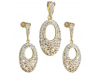 Sada šperků s krystaly Swarovski náušnice a přívěsek zlatý ovál 39075.6