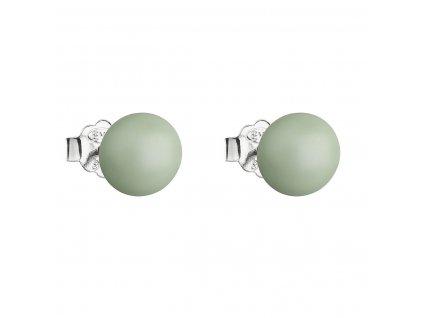 Stříbrné náušnice pecka s perlou Swarovski zelené kulaté 31142.3 pastel green