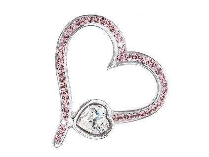 Stříbrný přívěsek s krystaly Swarovski růžové srdce 34183.3