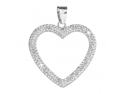 Stříbrný přívěsek s krystaly Swarovski bílé srdce 34092.1