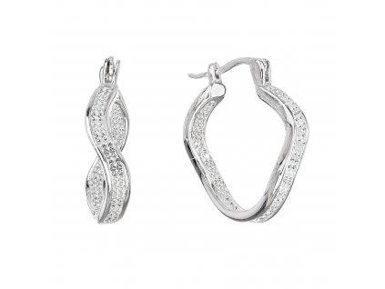 Stříbrné náušnice kruhy vlnkové s krystaly Swarovski bílý 31219.1