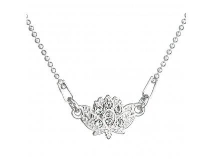 Stříbrný náhrdelník s krystaly Swarovski bílá kytička 32056.1