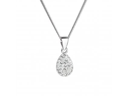 Stříbrný náhrdelník s krystaly Swarovski bílá slza 72069.1 crystal