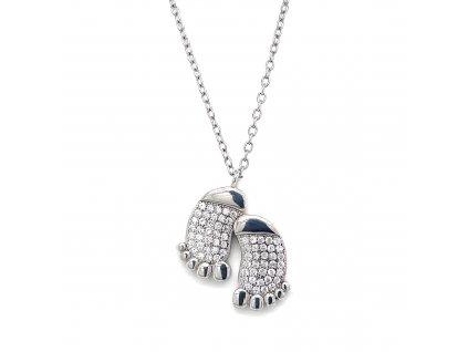 Stříbrný náhrdelník se zirkony chodidla bílá 12036.1 crystal