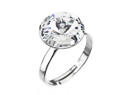 Stříbrný prsten s krystalem Preciosa bílý kulatý 35018.1 crystal