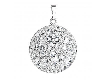 Stříbrný přívěsek s krystaly Swarovski bílý kulatý 34131.1