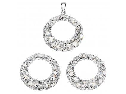 Sada šperků s krystaly Swarovski náušnice a přívěsek bílá 79043.1