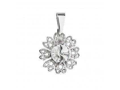 Přívěsek bižuterie se Swarovski krystaly bílá kytička 54032.1