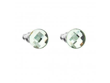 Náušnice bižuterie se Swarovski krystaly zelené kulaté 56008.3 peridot