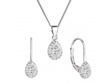 Sada šperků s krystaly Swarovski náušnice, řetízek a přívěsek bílý 79045.1 crystal