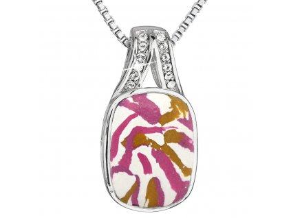 Stříbrný náhrdelník růžovobílý mramor se Swarovski krystaly 72064.1