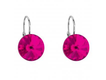 Stříbrné náušnice visací s krystaly Swarovski růžové kulaté 31106.3 fuchsia