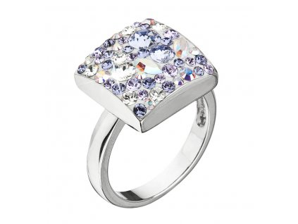 Stříbrný prsten s krystaly Swarovski fialový 35045.3 violet