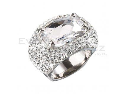 Stříbrný prsten s velkým krystalem bílý 735800.1 crystal
