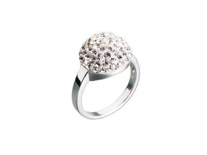 Stříbrný prsten s krystaly bílá boule 735013.11 crystal