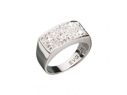 Stříbrný prsten s krystaly bílý obdelník 735014.10 crystal