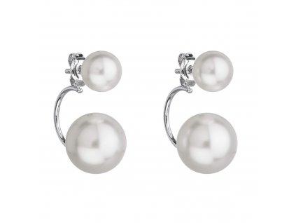 Stříbrné náušnice dvojité s perlou Preciosa bílé kulaté 31177.1