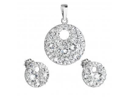 Sada šperků s krystaly Swarovski náušnice a přívěsek bílé kulaté 39148.1