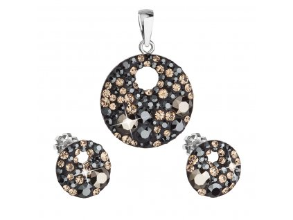 Sada šperků s krystaly Swarovski náušnice a přívěsek mix barev černá hnědá zlatá kulaté 39148.4