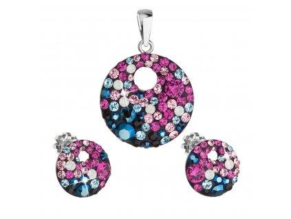Sada šperků s krystaly Swarovski náušnice a přívěsek mix barev kulaté 39148.4