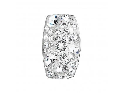 Stříbrný přívěsek s krystaly Swarovski bílý obdélník 34194.1