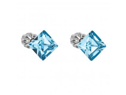 Stříbrné náušnice pecka s krystaly Swarovski modrý čtverec 31065.3 aqua