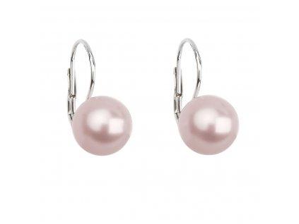 Stříbrné náušnice visací s perlou Swarovski růžové kulaté 31143.3 rosaline