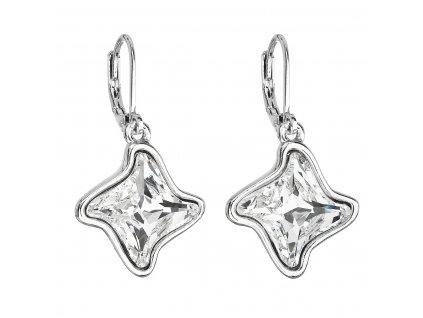 Náušnice bižuterie se Swarovski krystaly bílá hvězdička 51055.1
